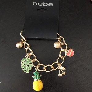 New bebe Charm Bracelet, Cherries, pineapple, Palm